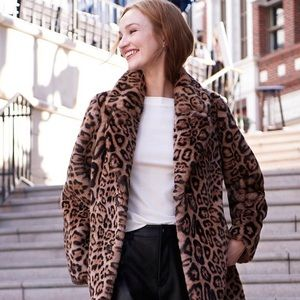 Gallery Faux Fur Leopard Print Coat